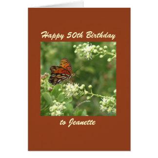 50.o personalizado feliz de la mariposa de la tarjeta