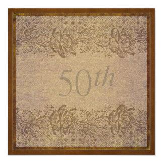 50.o Personalizado floral del oro de la fiesta de Invitación 13,3 Cm X 13,3cm