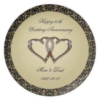 50.o Placa de la melamina del aniversario de boda Plato
