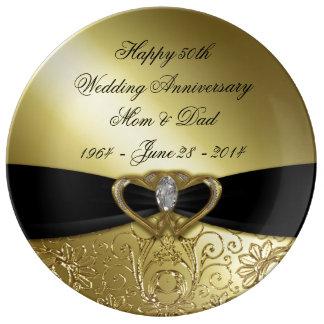 50.o Placa de la porcelana del aniversario de boda Plato De Porcelana