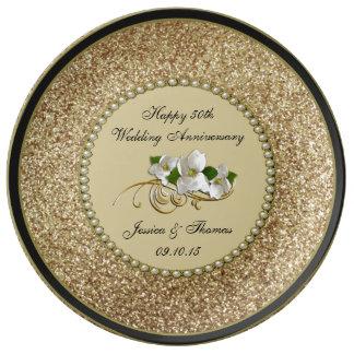 50.o Placa decorativa del aniversario de boda de Plato De Porcelana