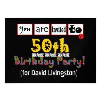 50.o Plantilla metálica de la fiesta de cumpleaños Invitación 12,7 X 17,8 Cm