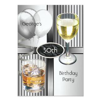 50.o Plata para hombre de los globos de las Invitación 11,4 X 15,8 Cm