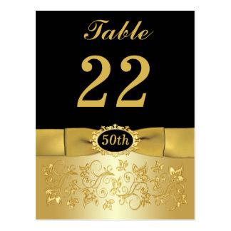 50 o Postal floral del número de la tabla del oro