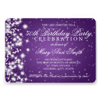 50.o Púrpura de la chispa 2 de la fiesta de cumple Invitacion Personalizada