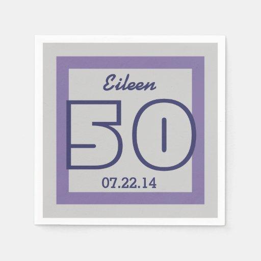 50.o PÚRPURA geométrica V18 y PLATA del cumpleaños Servilletas De Papel