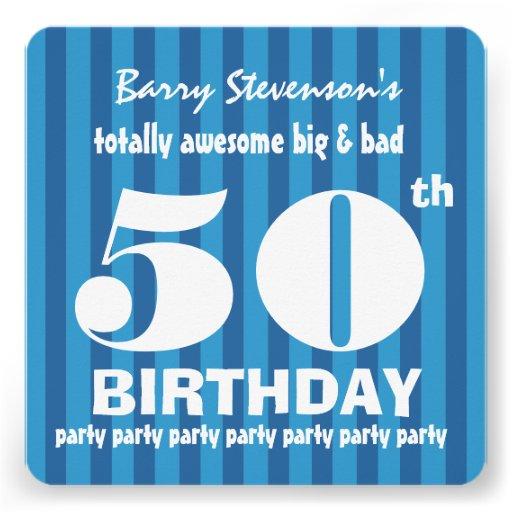 50.o Rayas azules A06A de la fiesta de cumpleaños Comunicado Personalizado
