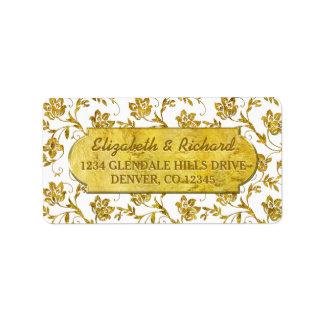 50.o Remite de la flora del oro del aniversario de Etiquetas De Dirección