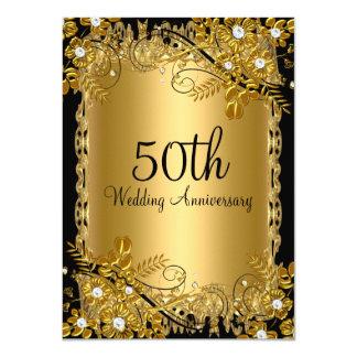 50.o Remolino floral del diamante negro del oro Invitación 11,4 X 15,8 Cm