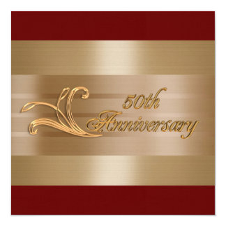 50.o rojo del oro de la invitación del aniversario