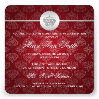50.o rojo real elegante de la corona de la fiesta  comunicado personal