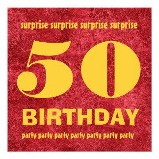 50 o Rojo y oro W1443Q del cumpleaños de la SORPRE Comunicados