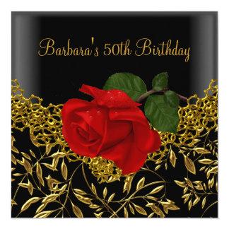 50.o Rosa ROJO del cordón del cumpleaños del oro Invitación 13,3 Cm X 13,3cm