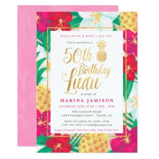 50.o Rosa y oro de las invitaciones el | de Luau Invitación 12,7 X 17,8 Cm
