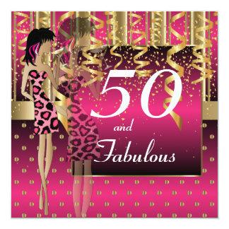 50.o Rosa y oro del fiesta el | del chica del Invitación 13,3 Cm X 13,3cm