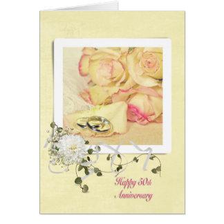 50.o Rosas del aniversario de boda Tarjeta De Felicitación