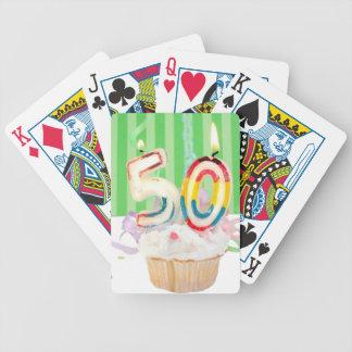 50.o saludo de la fiesta de cumpleaños baraja de cartas bicycle