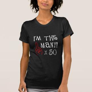 50.o saludo del dedo medio del cumpleaños camisetas