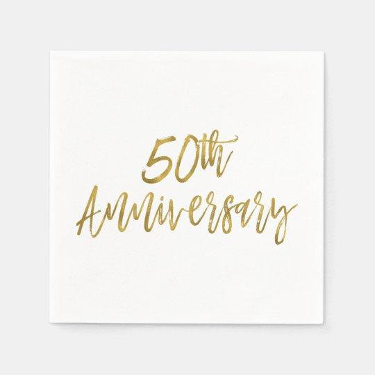 50.o Servilletas de la hoja de oro del aniversario Servilletas Desechables