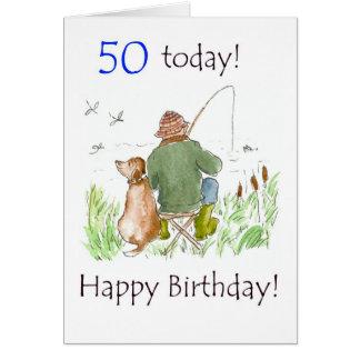 50.o Tarjeta de cumpleaños - pesca del hombre con