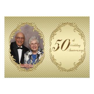 50 o Tarjeta de la invitación de la foto del anive
