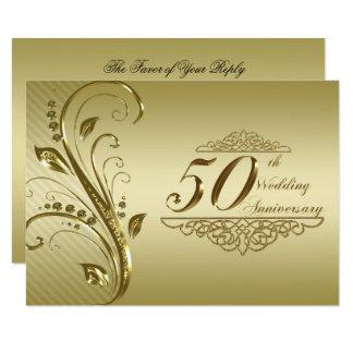 50.o Tarjeta de RSVP del aniversario de boda Invitación 8,9 X 12,7 Cm