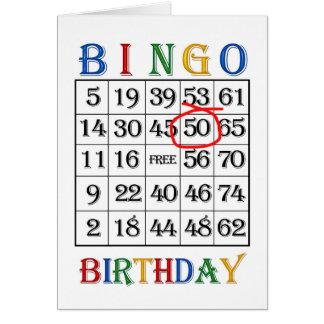 50.o Tarjeta del bingo del cumpleaños