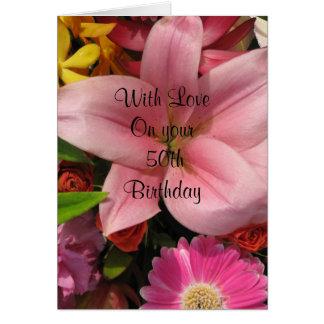 50.o Tarjeta del ramo floral del cumpleaños
