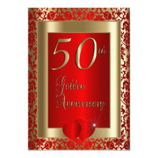 50.o Texto de oro y rojo del aniversario de boda Invitación 12,7 X 17,8 Cm