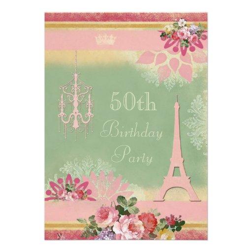 50.o Torre Eiffel y lámpara rosadas del cumpleaños Invitacion Personalizada