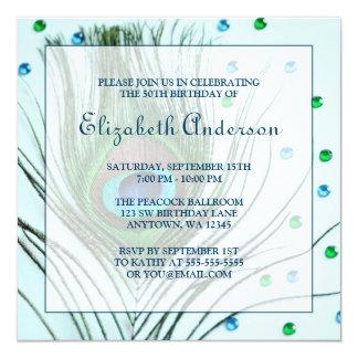 50.o trullo de la fiesta de cumpleaños de la pluma invitación 13,3 cm x 13,3cm