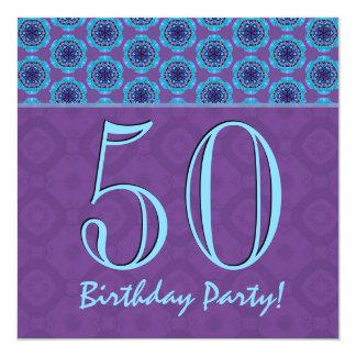 50.o V04 púrpura y azul del cumpleaños o de Comunicado Personalizado