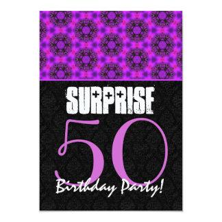 50.o V11E magenta y negro del cumpleaños de la Invitación 12,7 X 17,8 Cm