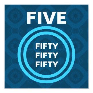 50.o V474 azul de la fiesta de cumpleaños y blanco Invitación 13,3 Cm X 13,3cm
