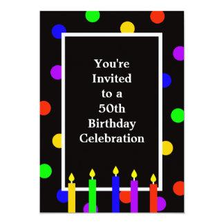 50.o Velas coloridas de la invitación de la fiesta