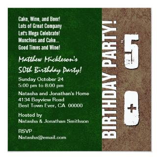 50.o Verde Brown V01 de la fiesta de cumpleaños Invitación 13,3 Cm X 13,3cm