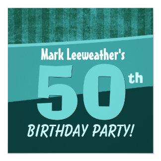50.o Verde del cumpleaños y rayas W380 del trullo Invitación 13,3 Cm X 13,3cm