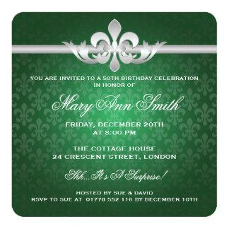 50.o verde elegante de la flor de lis de la fiesta invitación 13,3 cm x 13,3cm