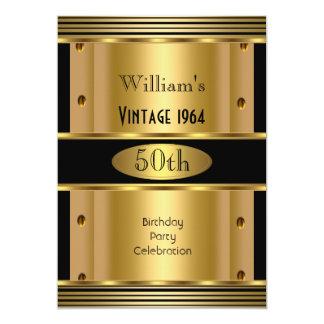 50.o vintage 2 del negro del oro de la fiesta del invitación 12,7 x 17,8 cm
