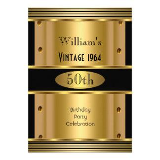 50 o vintage 2 del negro del oro de la fiesta del invitación