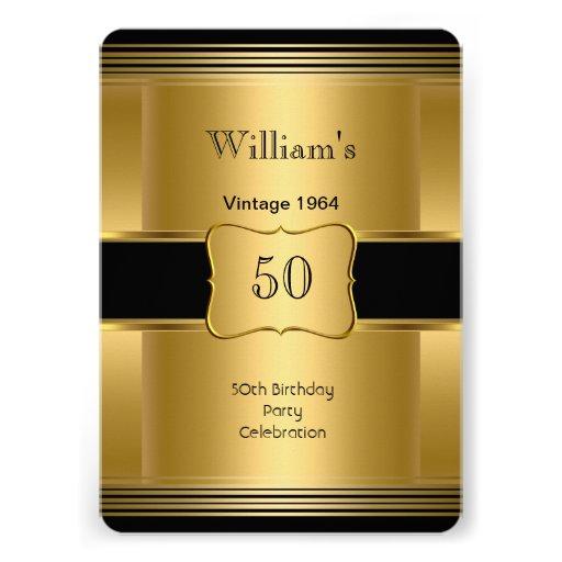 50.o vintage 2 del negro del oro de la fiesta del invitacion personal