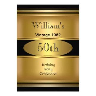 50.o vintage para hombre del negro del oro de la f anuncio