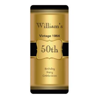50.o vintage para hombre del negro del oro de la invitación 10,1 x 23,5 cm