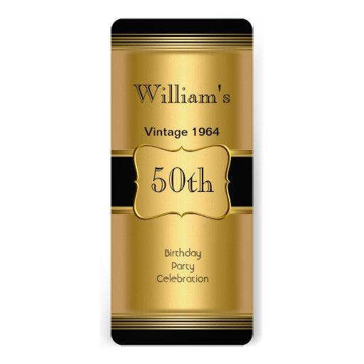 50.o vintage para hombre del negro del oro de la invitación personalizada