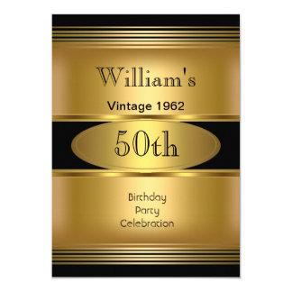 50.o vintage para hombre del negro del oro de la invitación 12,7 x 17,8 cm