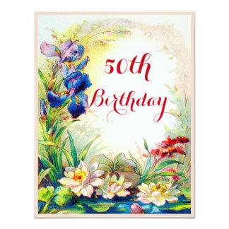 50.o Vintage Waterlilies del cumpleaños y flores Invitación 10,8 X 13,9 Cm