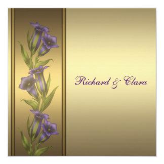 50.o Violetas de oro de la púrpura del aniversario Invitación 13,3 Cm X 13,3cm