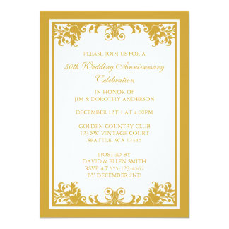 50.o Voluta de oro del Flourish del aniversario de Invitación 11,4 X 15,8 Cm