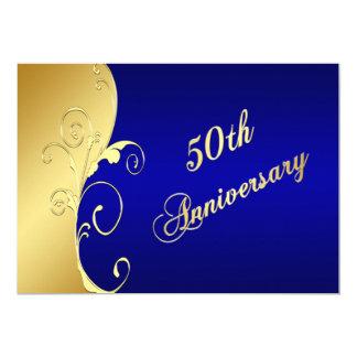 50.o Volutas del oro del aniversario con la marina Invitación 12,7 X 17,8 Cm