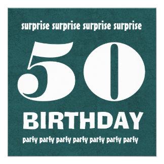 50 o W1443G verde y blanco del cumpleaños de la SO Invitaciones Personalizada